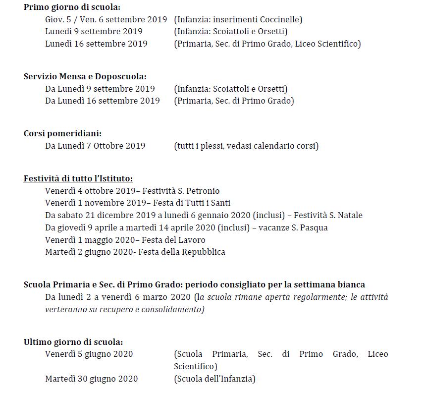Calendario Scolastico Bologna.Scuola Dell Infanzia Sant Alberto Magno